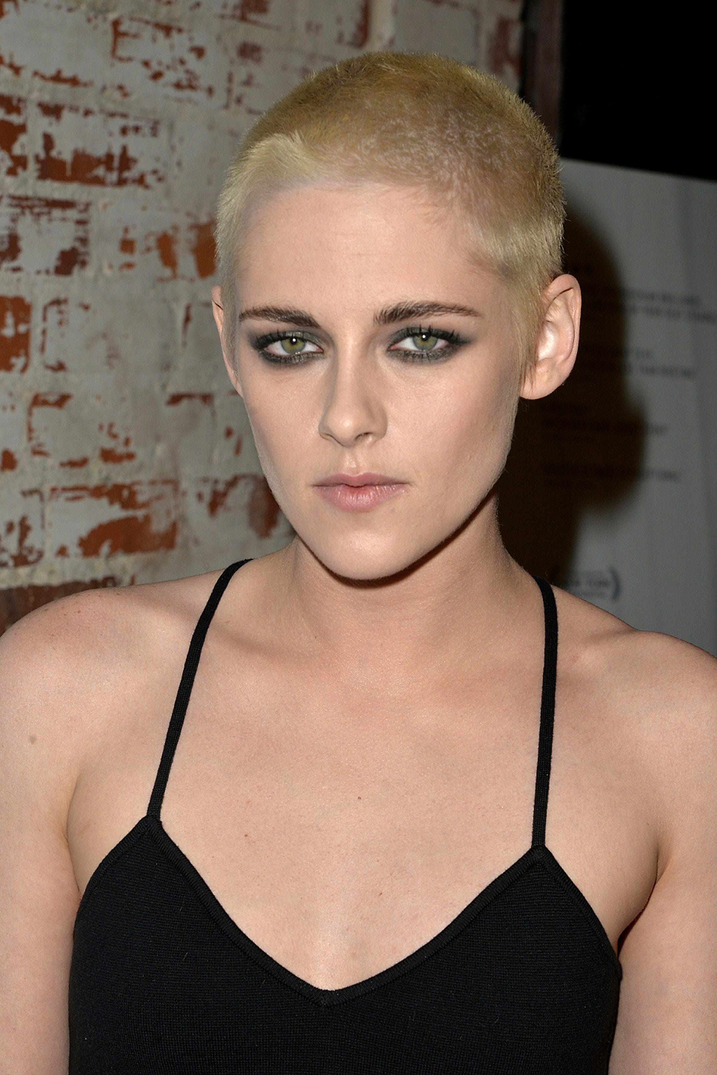 Kristen Stewart Blonde Shaved Head Celebrity Hair