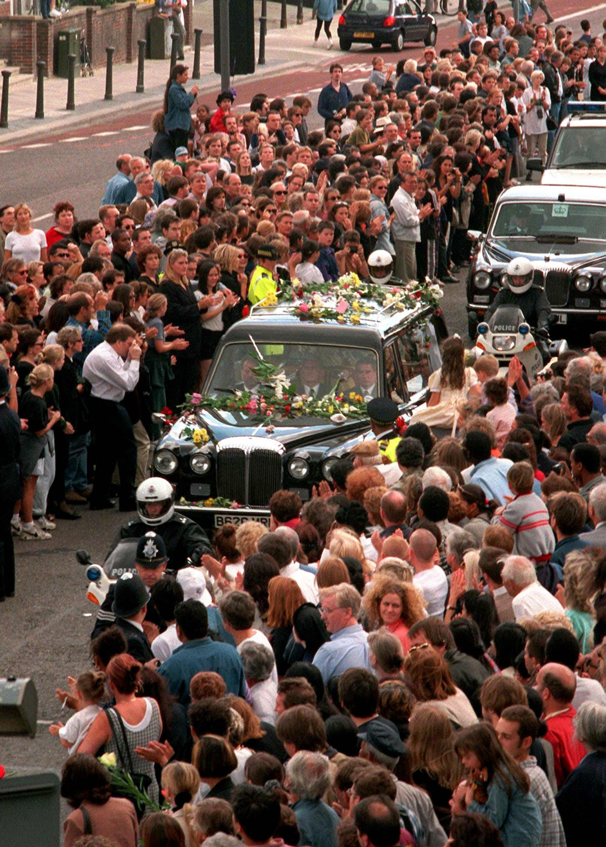 Princess Diana Funeral Anniversary Crowd Procession
