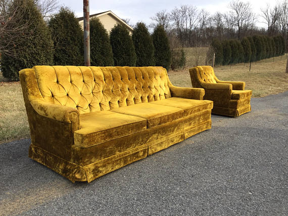 Crushed Velvet Sofa Set Hollywood Regency