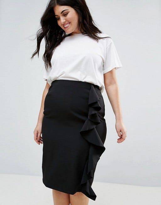 New Look Curve Ruffle Pencil Skirt