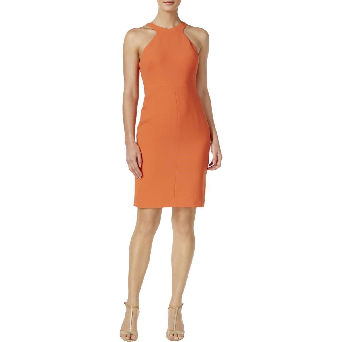 Calvin Klein Scuba Crepe Halter Dress