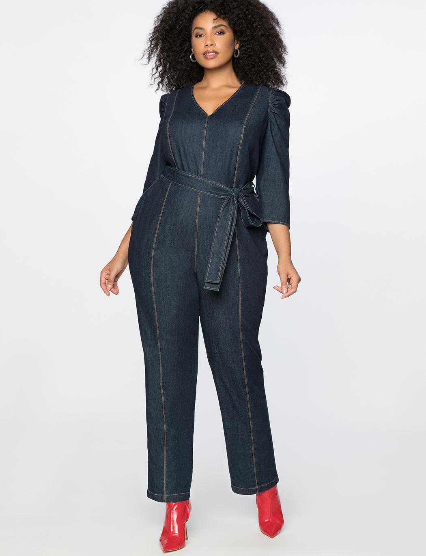 aeb2590fb69 Eloquii + Plus-Size Puff Sleeve Denim Jumpsuit