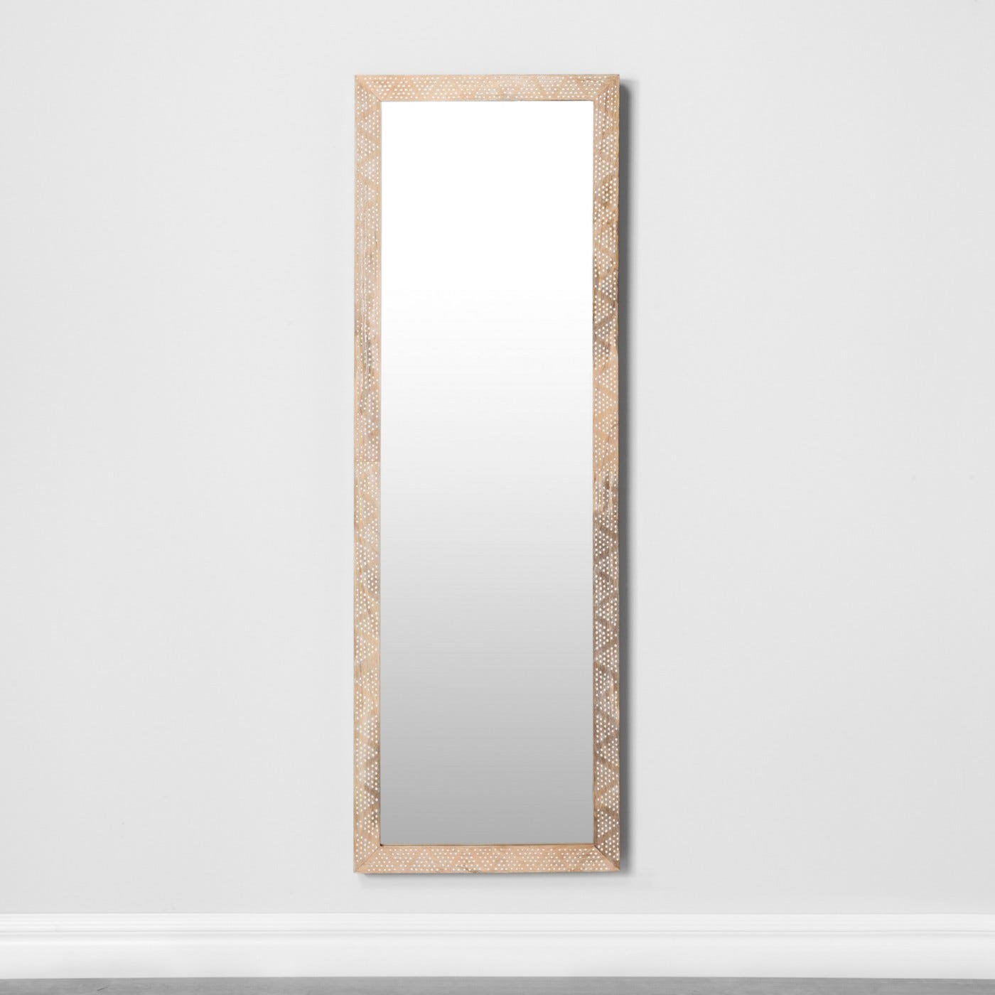 Carved Dot Natural Wood Floor Mirror Opalhouse