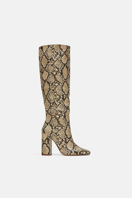 Zara + Heeled Snakeskin Print Boots