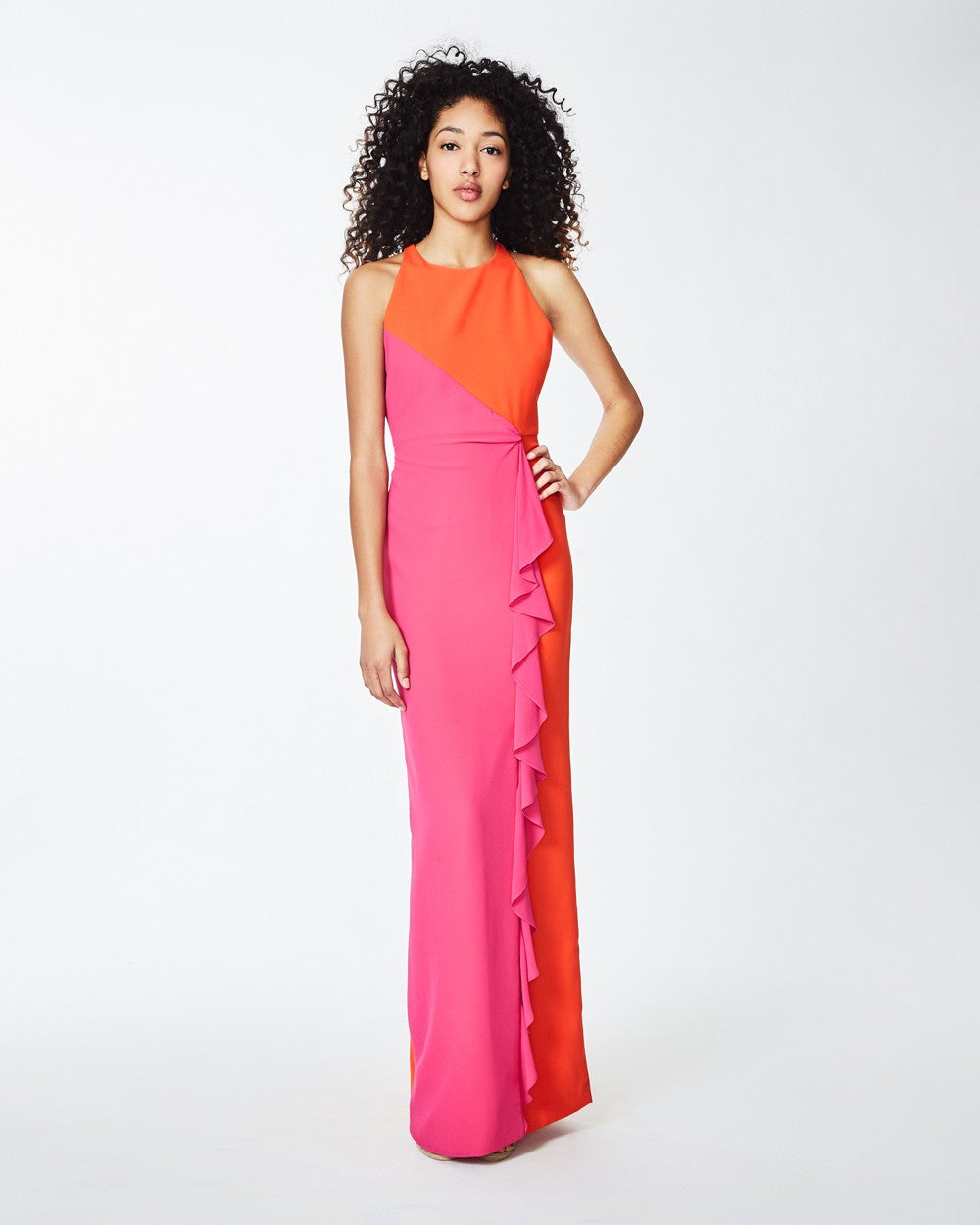Nicole Miller + X-Back Ruffle Gown