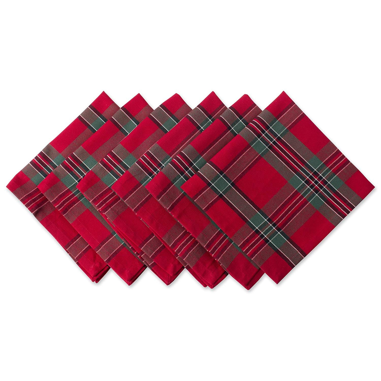 Red Plaid 100% Cotton Oversized Napkin for Holidays