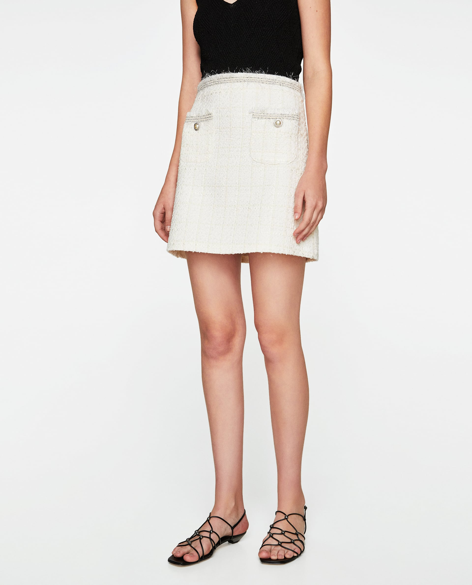 5b97b7195b Zara + Tweed Skirt with Ribbon Detail