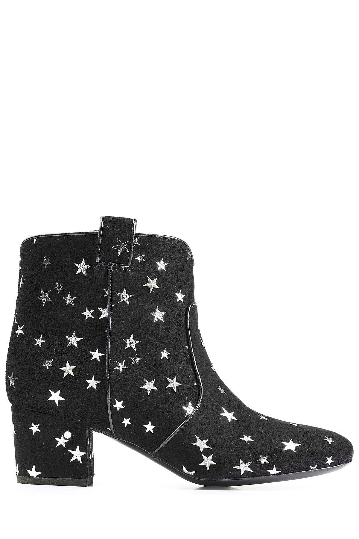 Womens Vintage Splicing Printed Ankle Boots | Boots