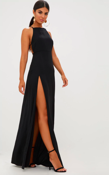 000ab0ef57cc1 Black Strappy Back Detail Chiffon Maxi Dress. $45.00. Buy Now Review It. At  PrettyLittleThing