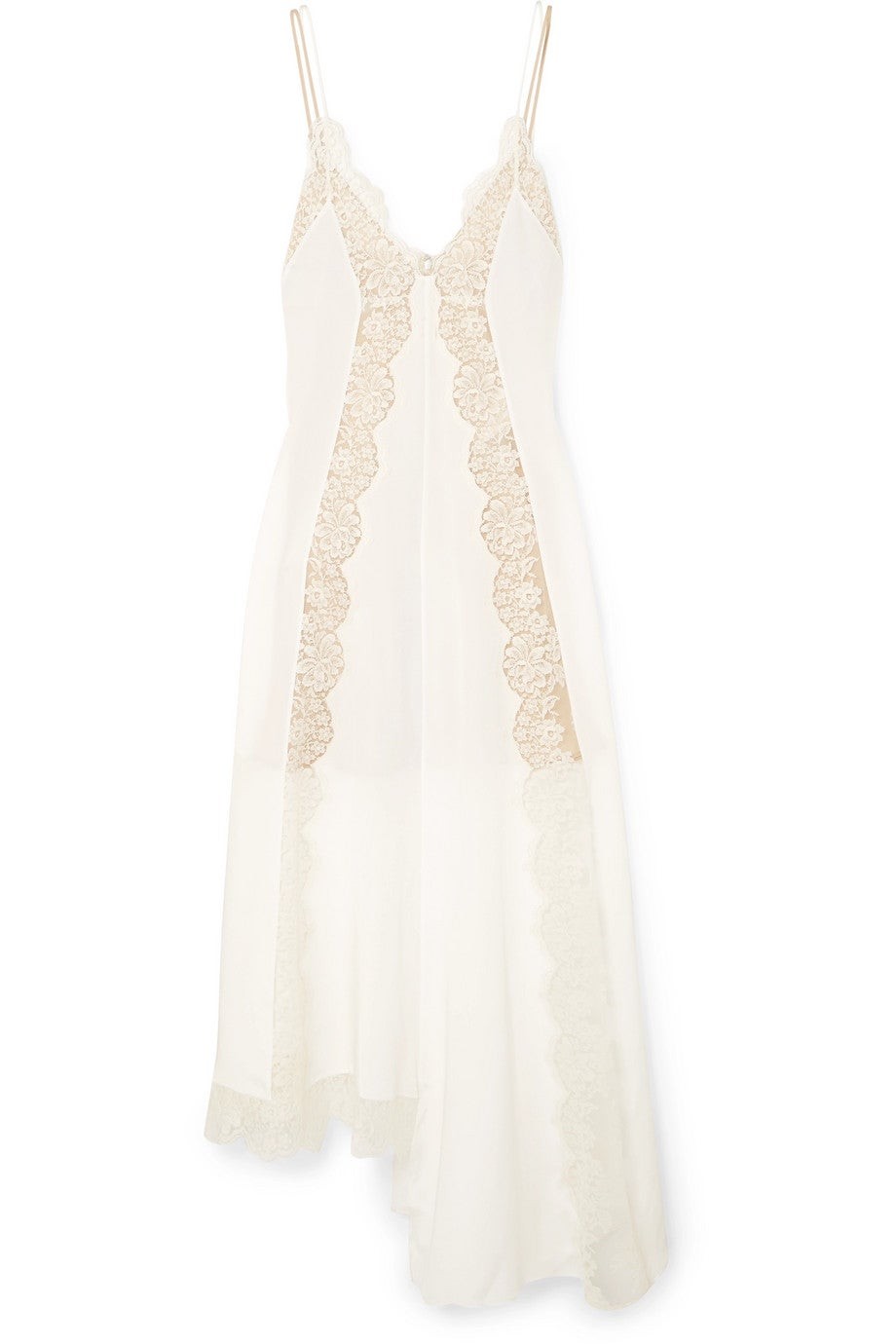41a79b83e Stella McCartney + Asymmetric Lace-trimmed Silk Crepe de Chine Dress