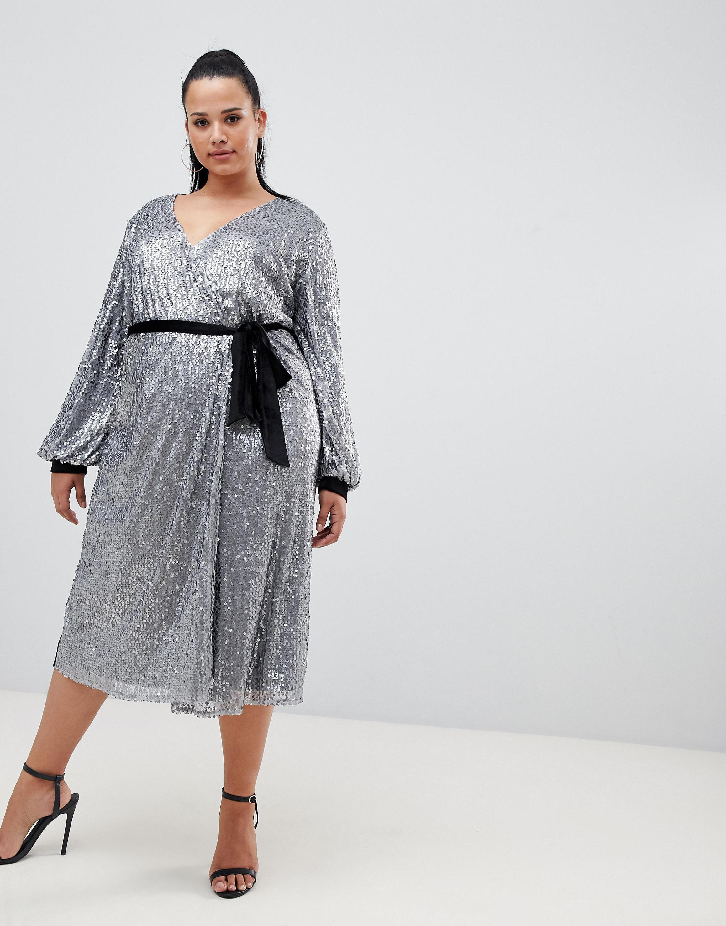 Plus-Size Sequin Velvet Contrast Wrap Front Midi Dress With Belt Detail