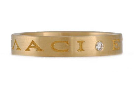 Narrow Latin Phrase with Diamond Wedding Band