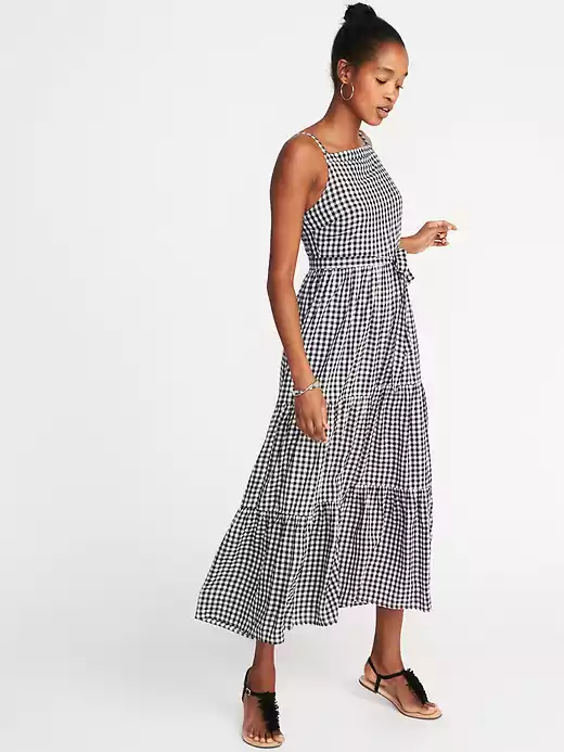 c0e55a6274963 Old Navy + Sleeveless Tiered Gingham Maxi Dress