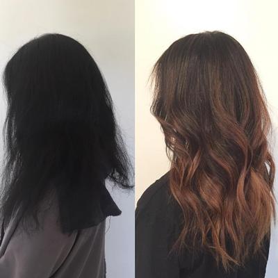 schwarze haare mit braunen highlights