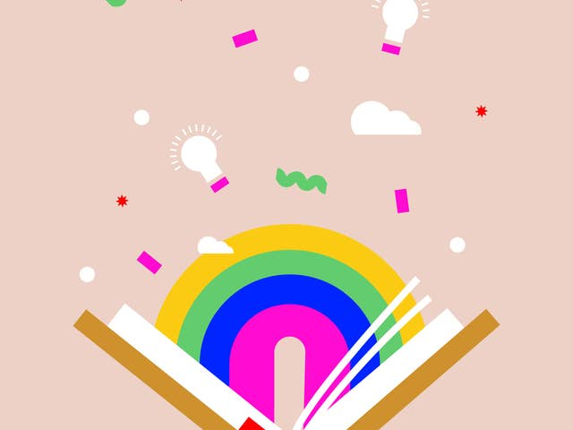 Illustration of a book with a rainbow