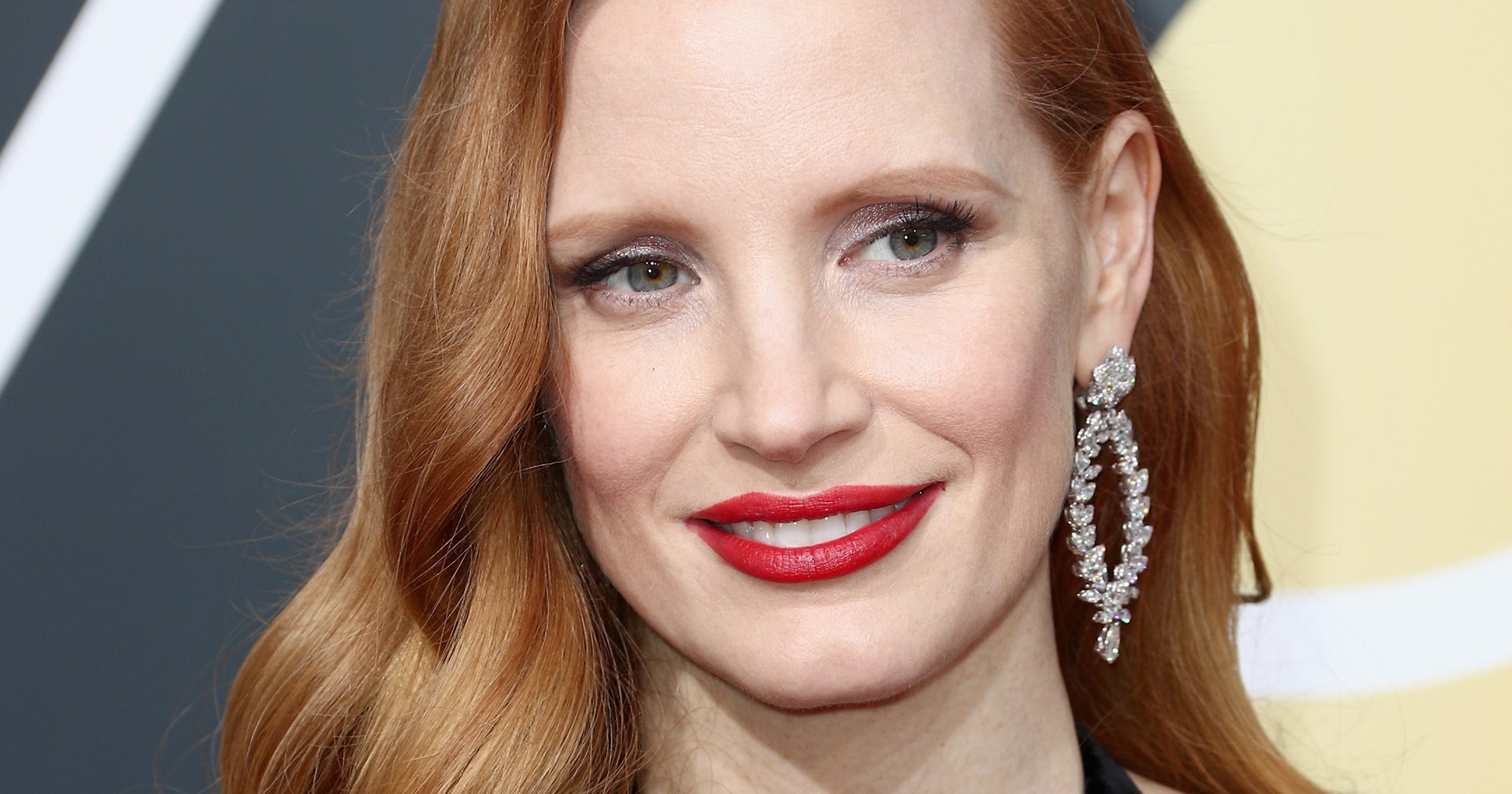 Celebrity Bold Red Lipstick Feminist Act Golden Globes