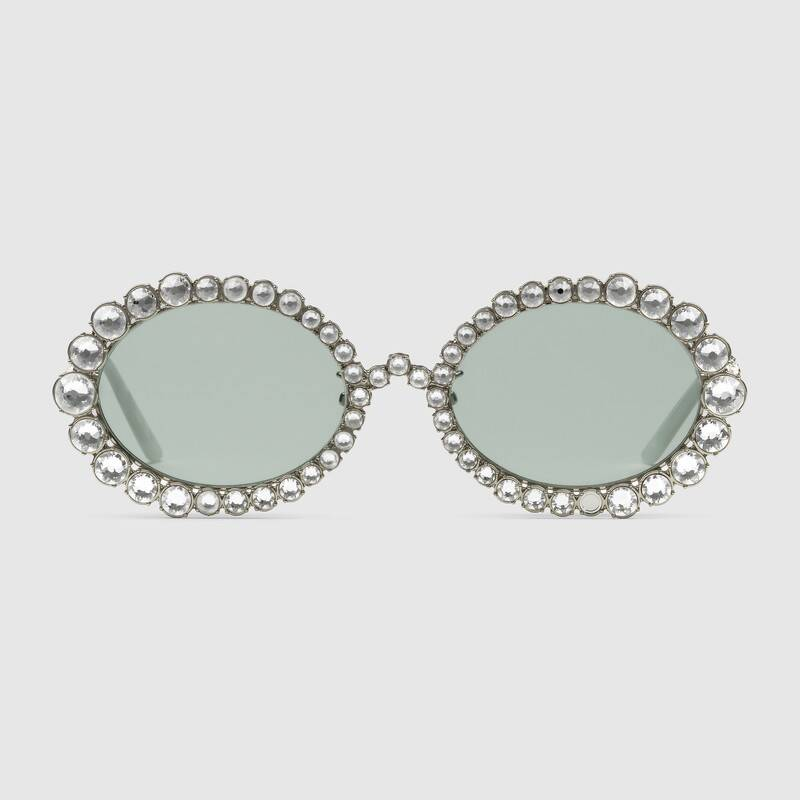84416e2c80 Gucci + Oval Sunglasses With Crystals