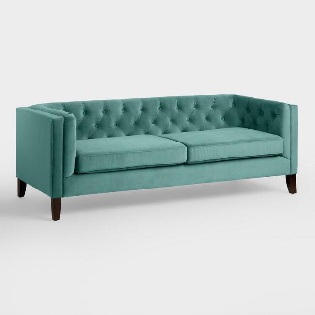 World Market Teal Velvet Kendall Sofa