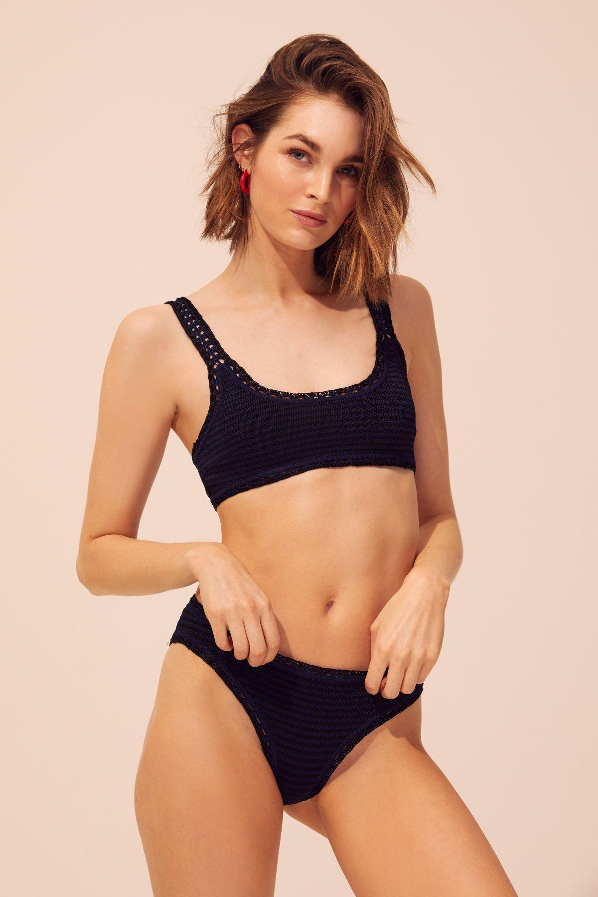 9d6b25ce47 Zara + V-neck Textured Weave Bikini Top