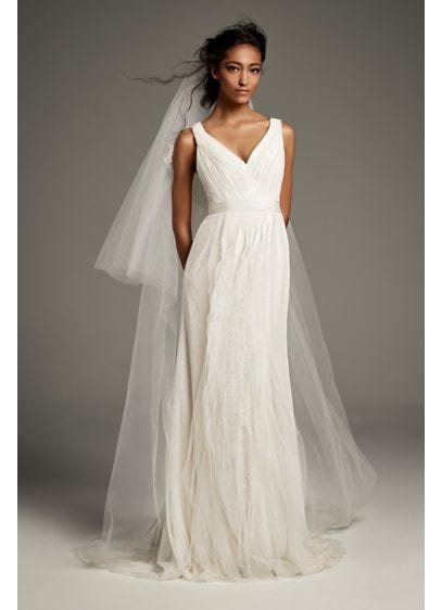 Pleated Tulle Flutter Back Sheath
