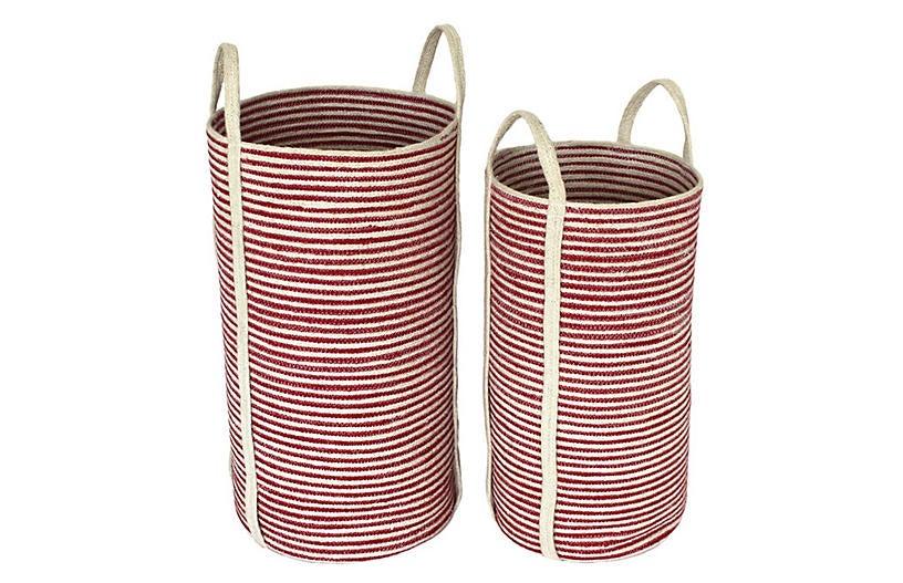 Wondrous Asst Of 2 Newport Tote Baskets Red White Spiritservingveterans Wood Chair Design Ideas Spiritservingveteransorg