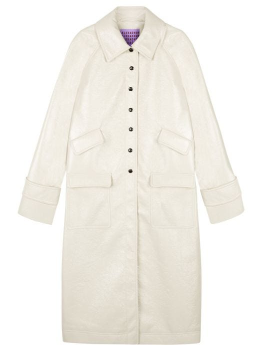 Alexa Chung + Cream Chesterfield Coat