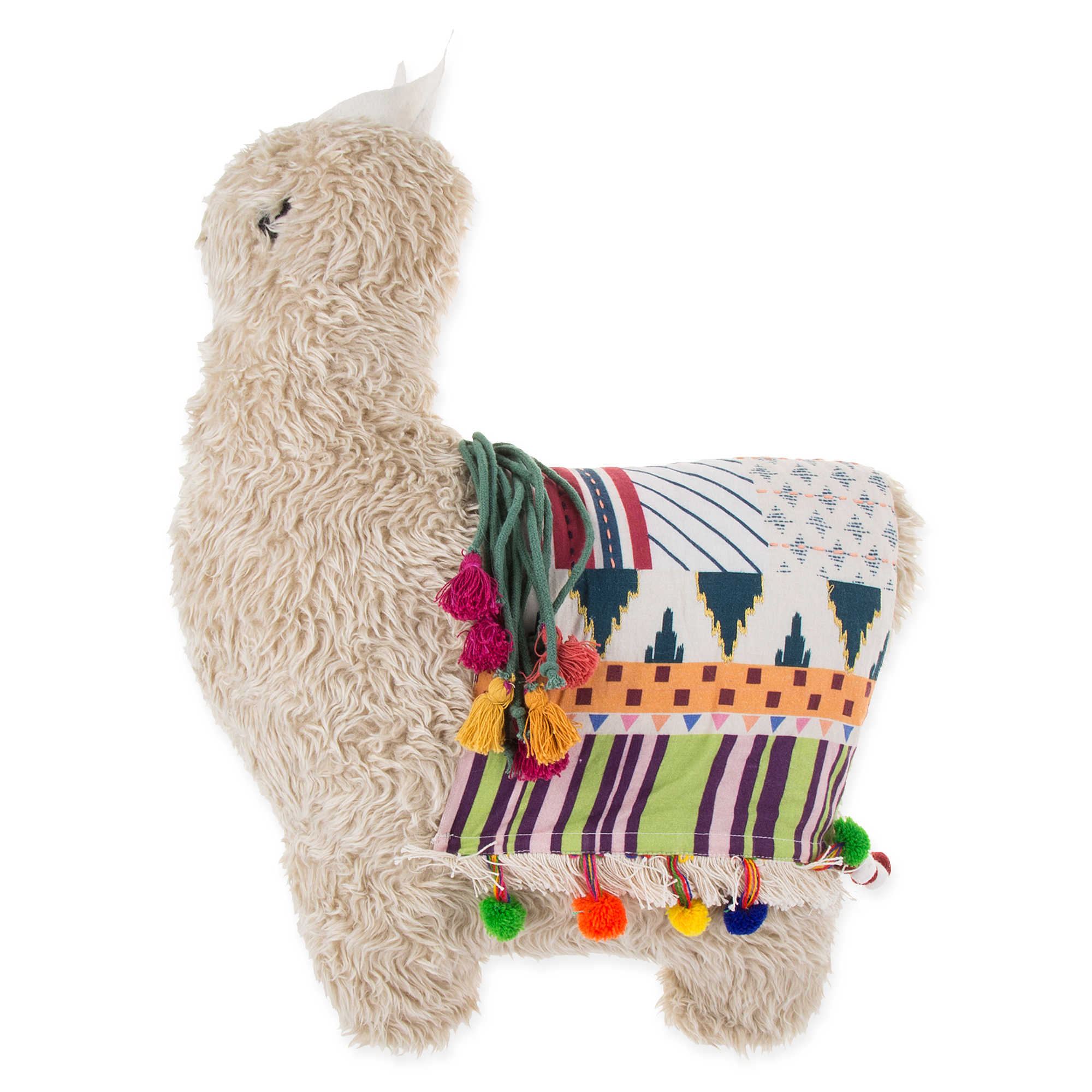 Llama throw pillow in taupe